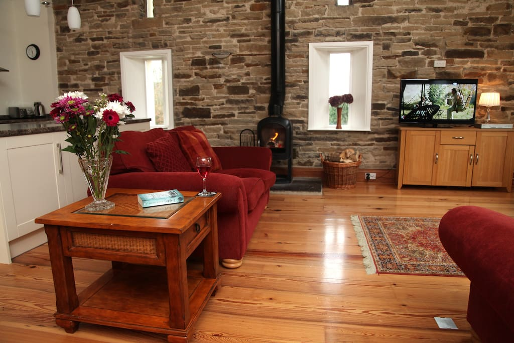 living area with comfy sofas, wood burning stove and tv