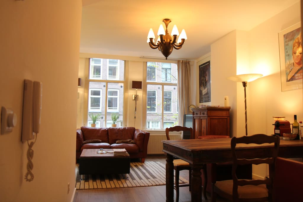 The Living Room seen from the entrance with our massive dining table.