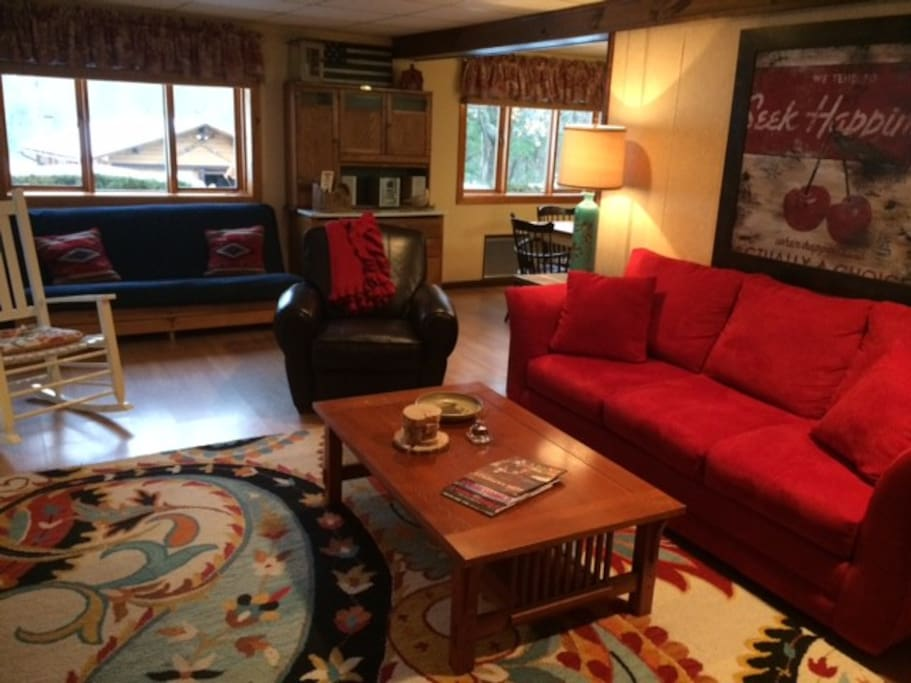 Living room with futon for extra guests