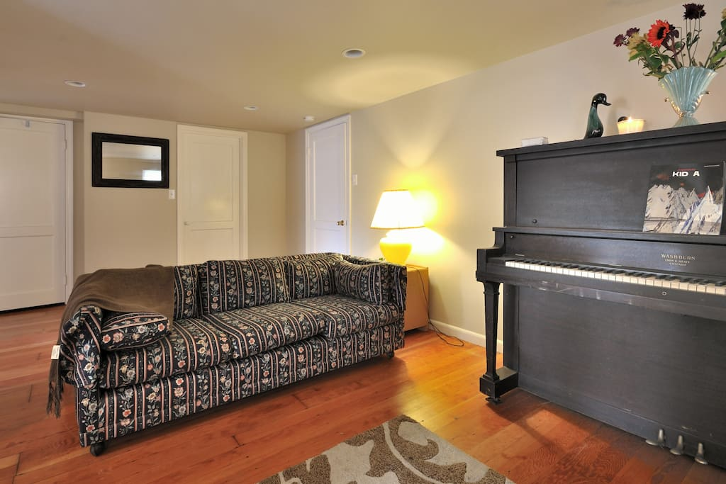 Snuggle or sleep on our comfy couch. Air mattress or Pack N Play available upon request for extra sleepers.