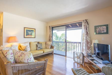This beautiful apartment has great views from the lanai, the oceanside bedroom and the living room.