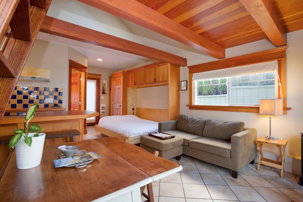 This photo really highlights the gorgeous custom finishings.  Most of the woodwork is locally sourced Fir.
