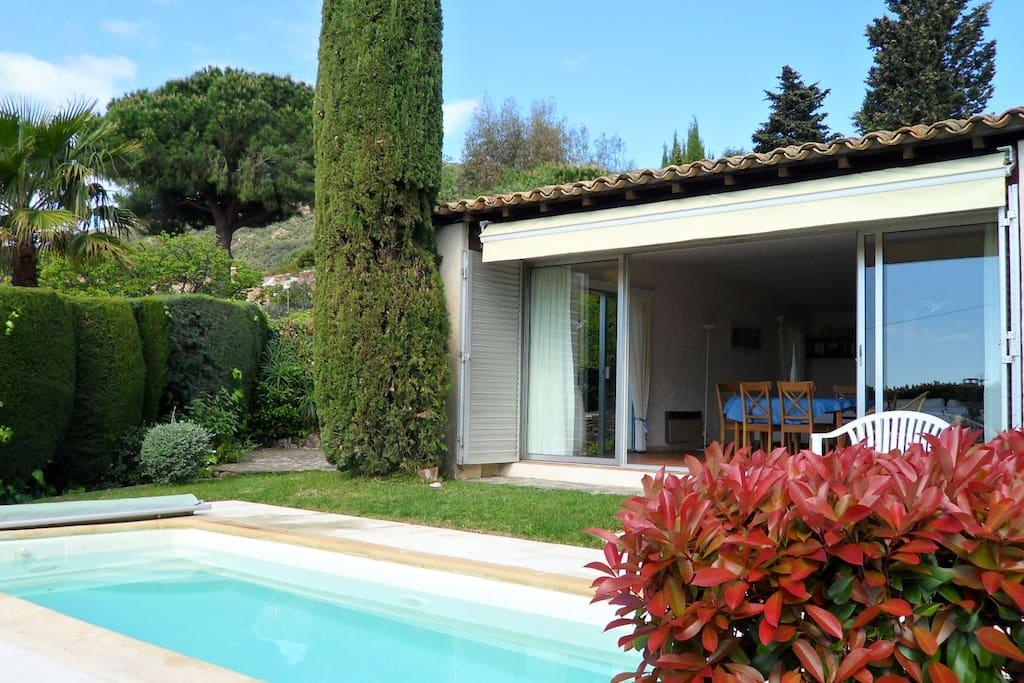 piscine, jardin et séjour