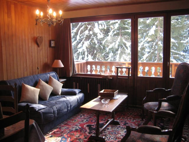 Great situation for this studio with balcony with a nice view of Saulire!
