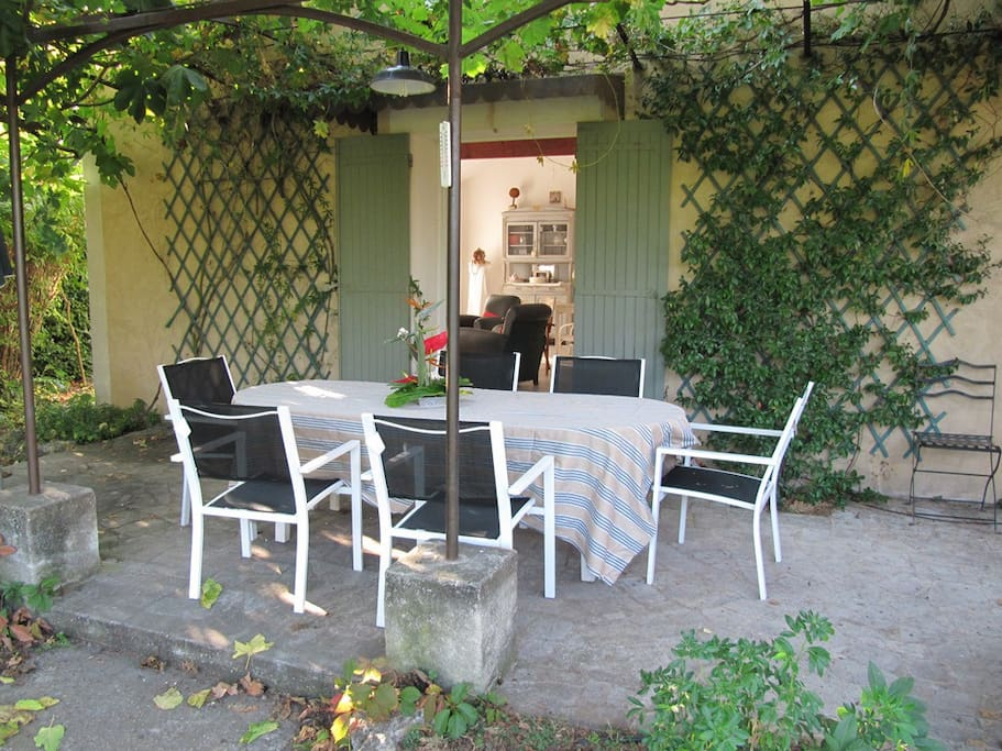 Terrasse conviviale ombragée