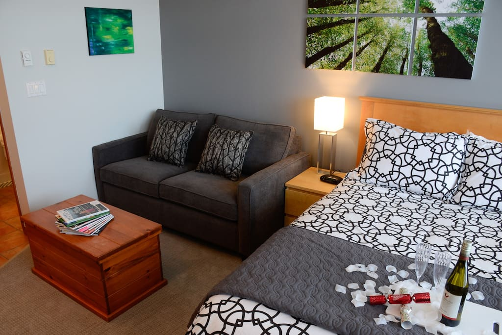 Freshly renovated in the fall of 2014 with new carpet, sofa bed, linens, lighting, paint and art make this suite a joy to stay in.