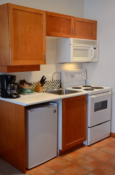 The kitchen is great for making meals and keeping food costs down.