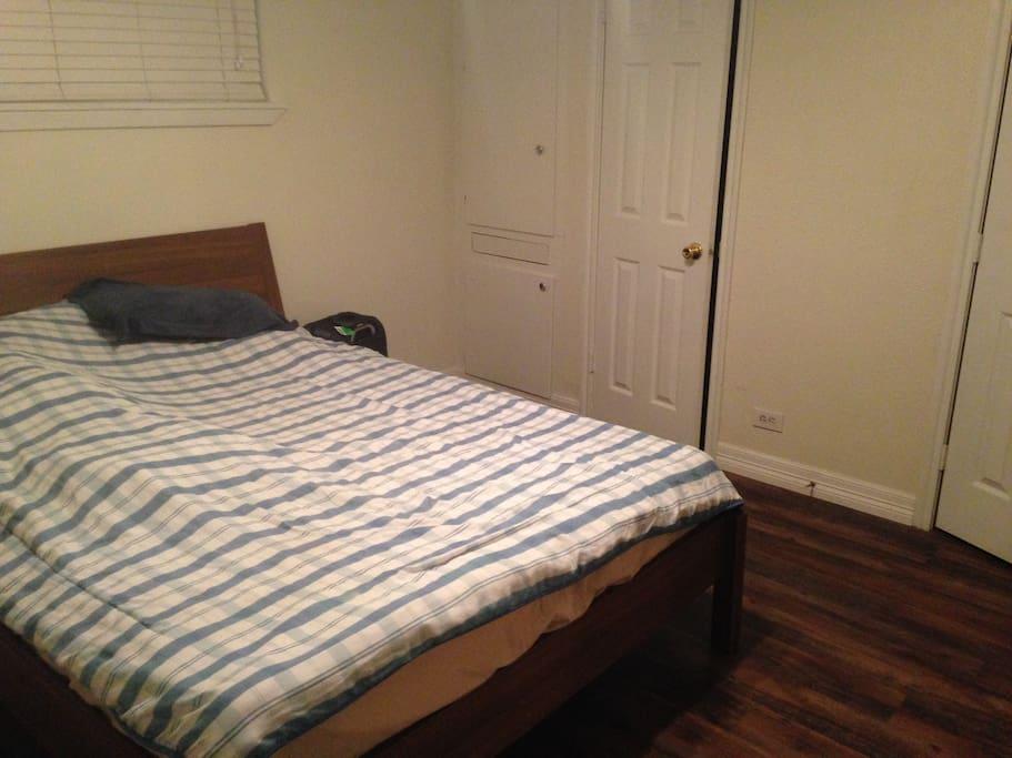 One bedroom with queen bed