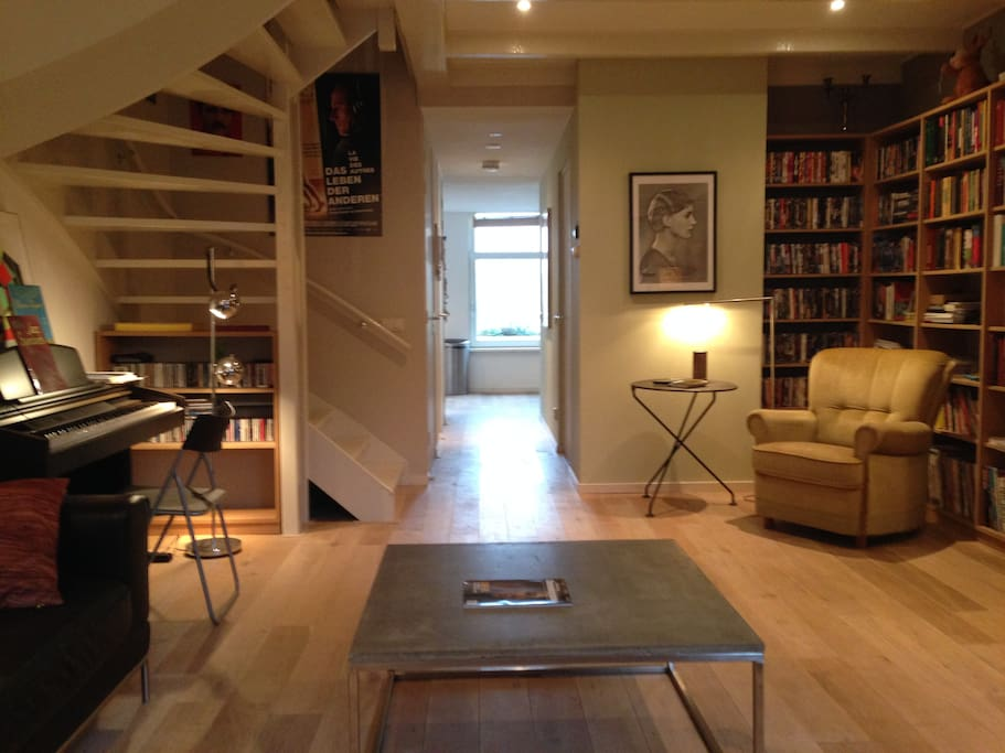 Spacious first level with oak wood floor.