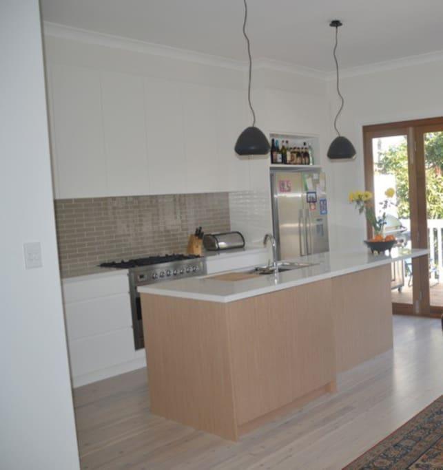 Gourmet kitchen with modern appliances.