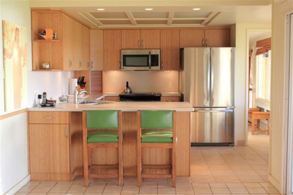 Bamboo cabinets, stainless appliances, very complete kitchen