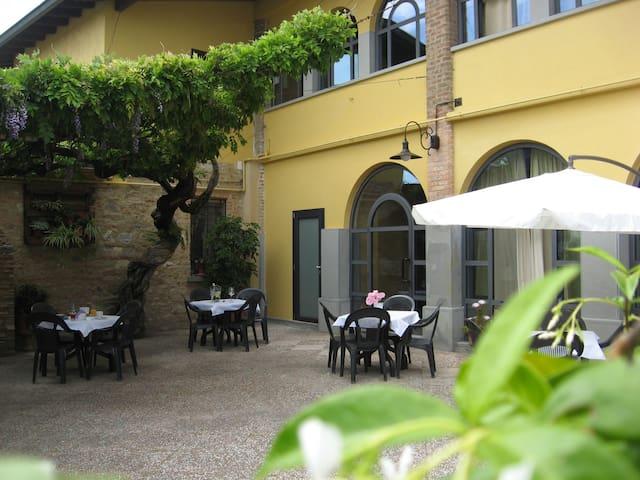 Spazio esterno dove gli ospiti potranno rilassarsi,fare colazione,pranzare o cenare ammirando il Glicine secolare.