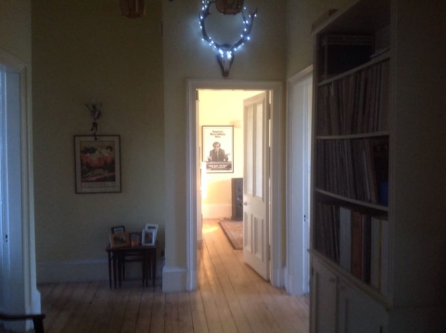 The hallway. More records shown.