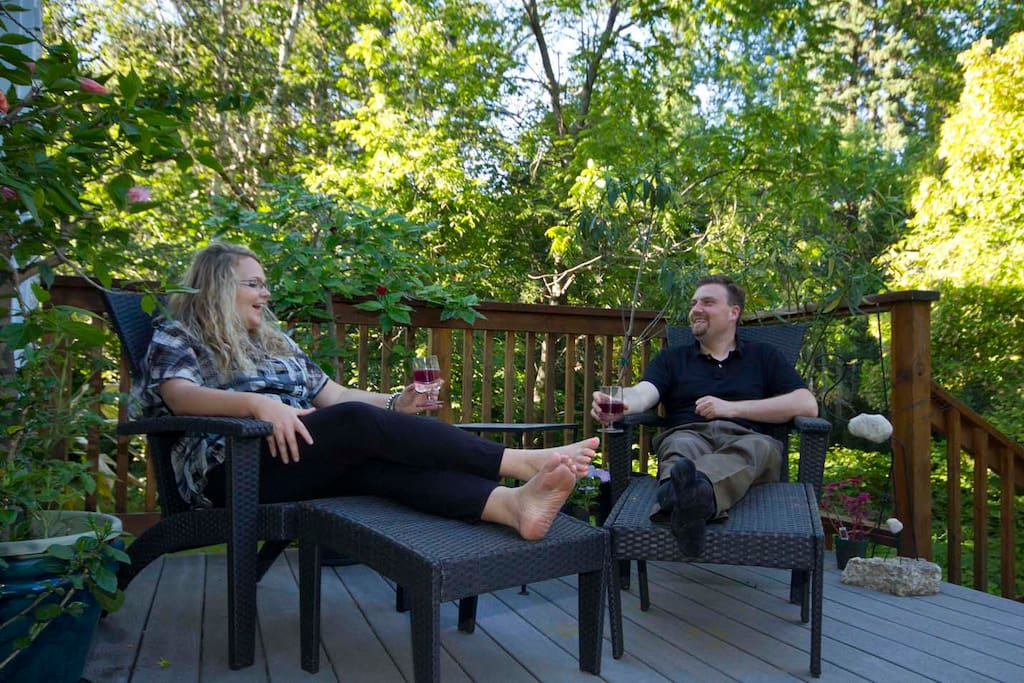 Relax on the deck in our private park!