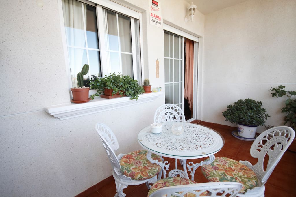 Balcony with selection plants, stunning unimpeded views of the sea and salt lagoons perfect for Al Fresco dining.