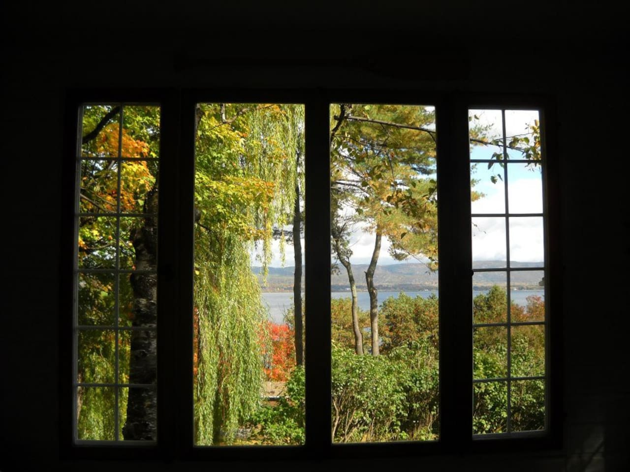 Late summer view from guest cottage. The view is similar from the great room in the main house.