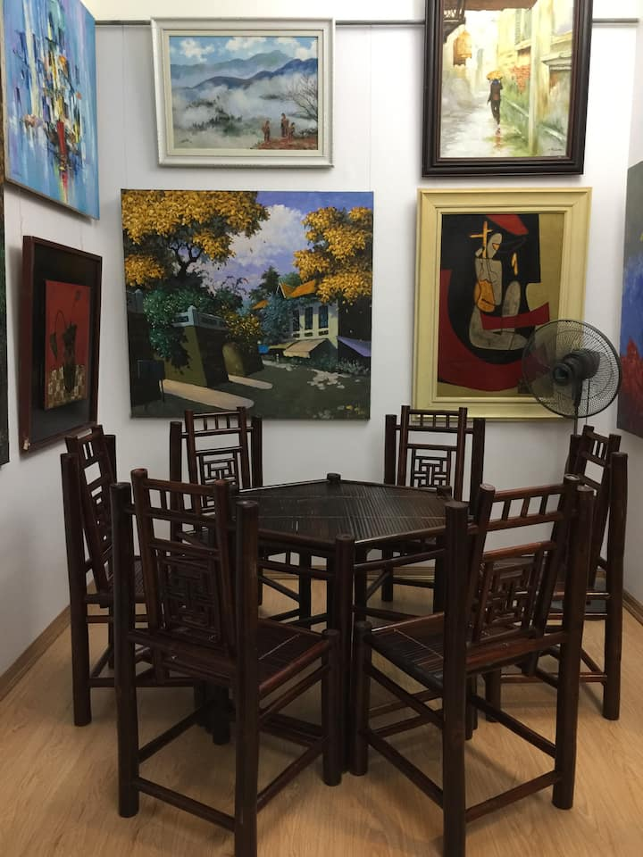 The dining area surrounded  by local art