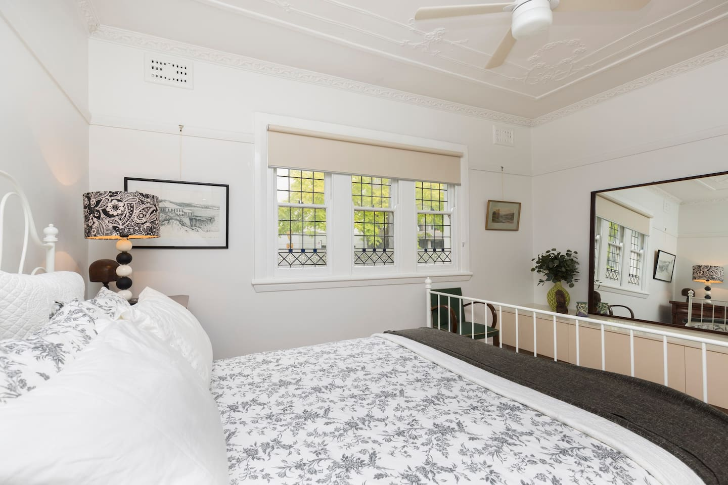 Ceiling fans in both bedrooms which keeps apartment lovely and cool