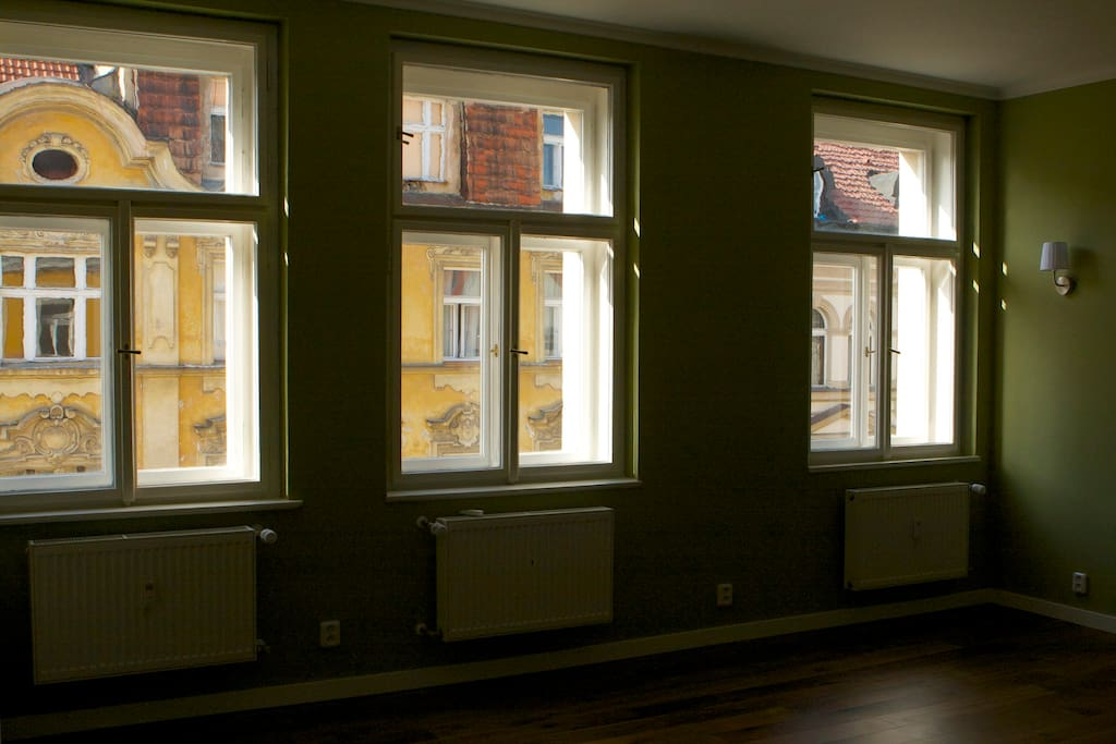 See historical 19th century houses out of your window (this was shot before we added curtains)
