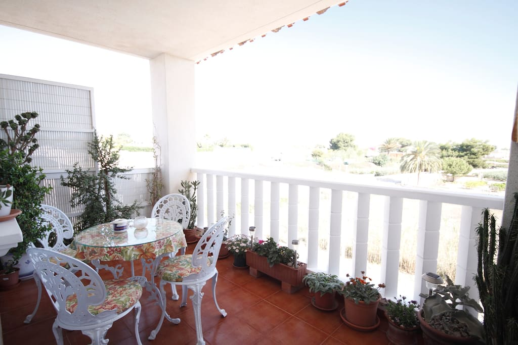 Views from the balcony: established luxury apartment with fantastic view of the Mediterranean Sea and surrounding country side.