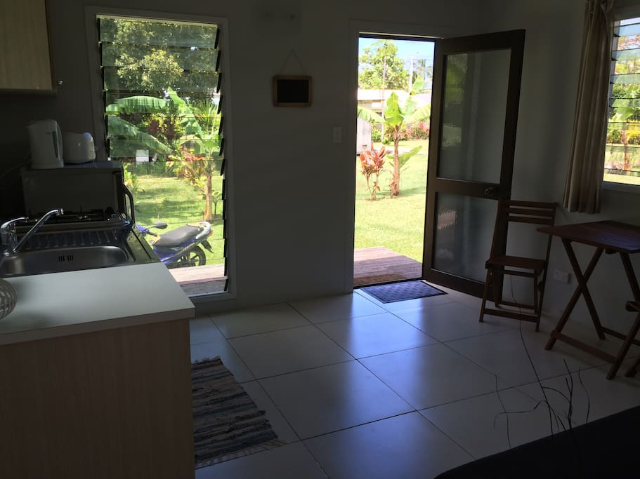 Kitchen, lounge, inside dining area and entrance