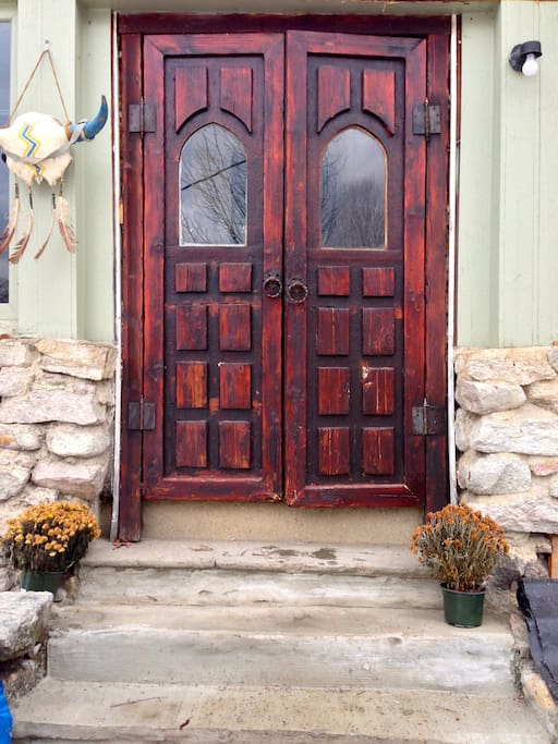 The front door, handmade by Dr. Larsen. This house is full of handmade quirkiness.