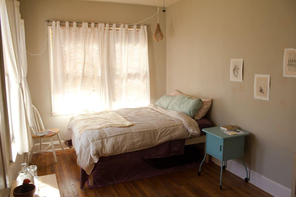 Roomy full sized bed, sleeps two.
