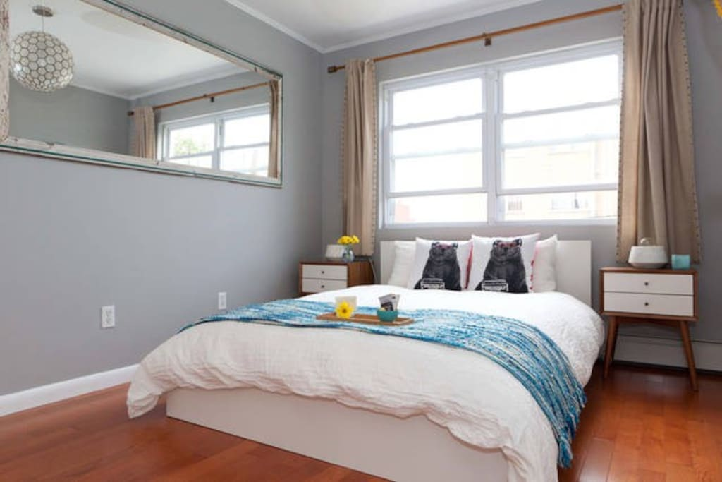 Master bedroom with private, en suite bathroom.