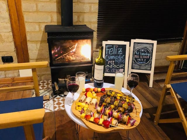 Enjoy a romantic dinner by the chimney