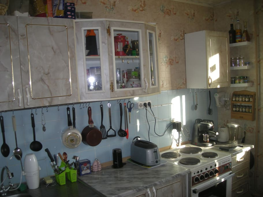 The kichen, equiped by toaster, blender, mixer, electric oven, coffee-machine, coffee mill, water filter (9 sq.m.)