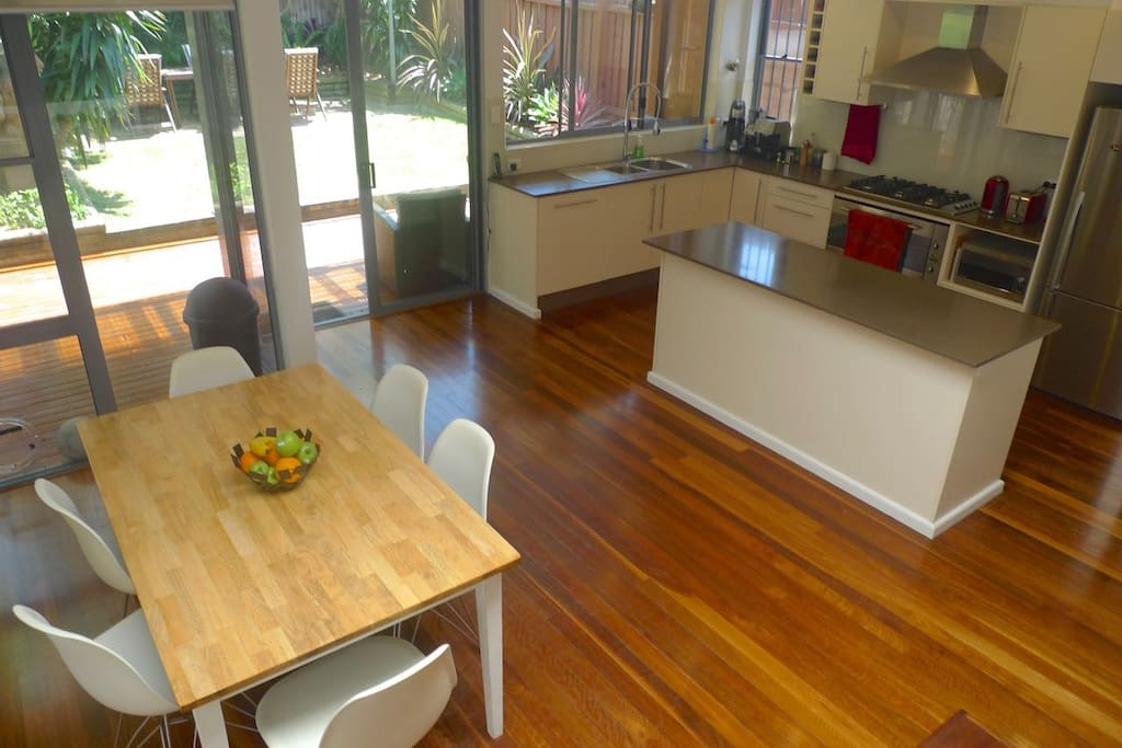 Bright and airy eat-in kitchen, leading to rear garden