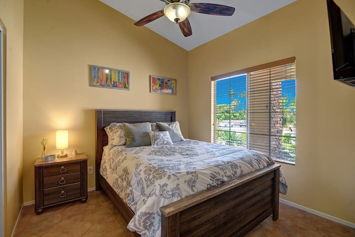 guest bedroom #2 new rustic modern set with queen pillow top mattress.  lamp has USB port for ease of charging devices