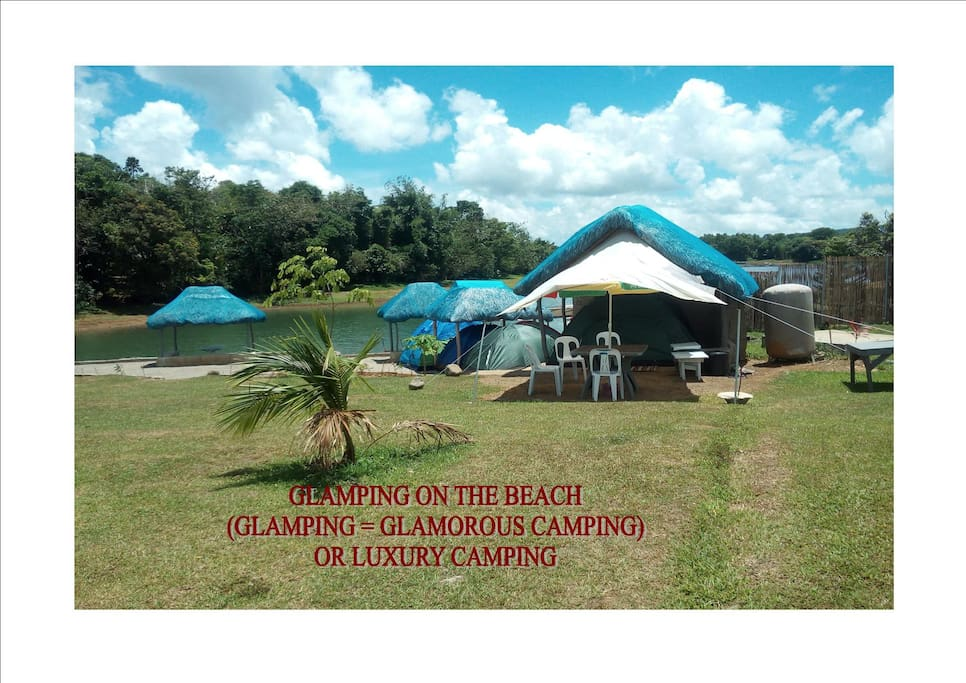 "Our Glamping or ""Comfortable Camping Packages"" come complete w/ Electricity, Lights, Air Mattress's, Fresh Linens, Soft PIllows, Electric Fans, Table & Chairs,  Free WiFi, Free Ice Water, PLUS we have Packages available with, Breakfast, Lunch & Dinners! Prices starting @ P550 Per Person Per Nite, or w/ 3 Full Meals P1,200. Per Person Per Nite (Family Discount Packages are Available Just Ask.)"