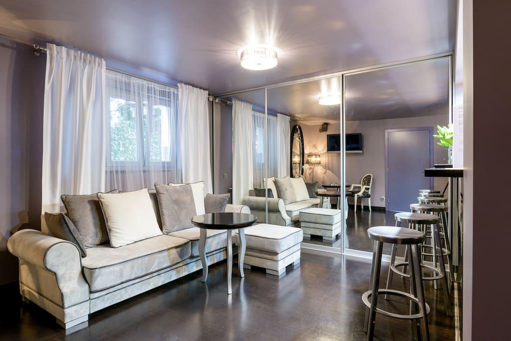 living, sofa bed, kitchen, tv room,