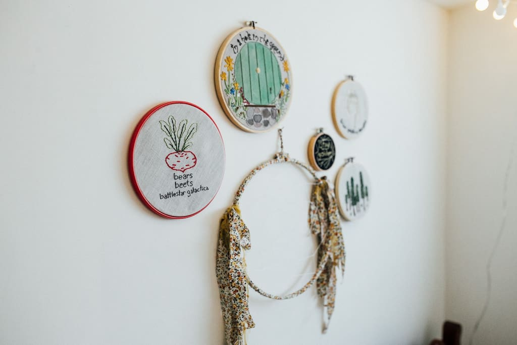 Embroidered artwork from a local artist.