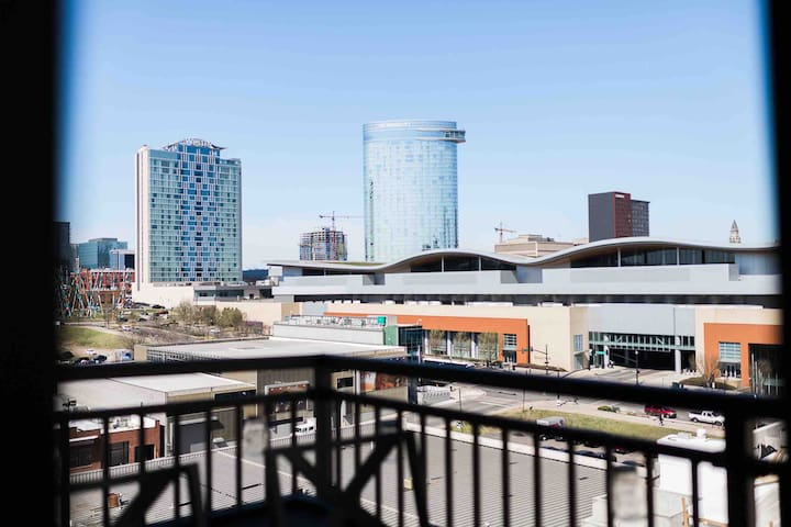 Balcony overlooks the Music City Center and downtown! It's just a block away.