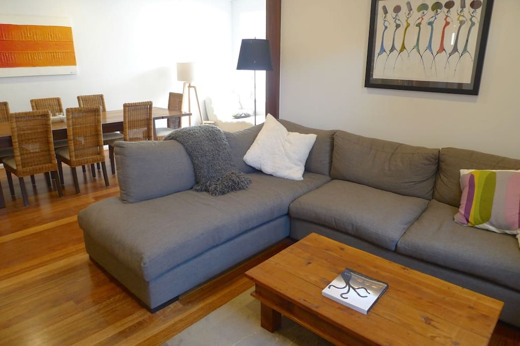 Comfy couch in open-plan living area