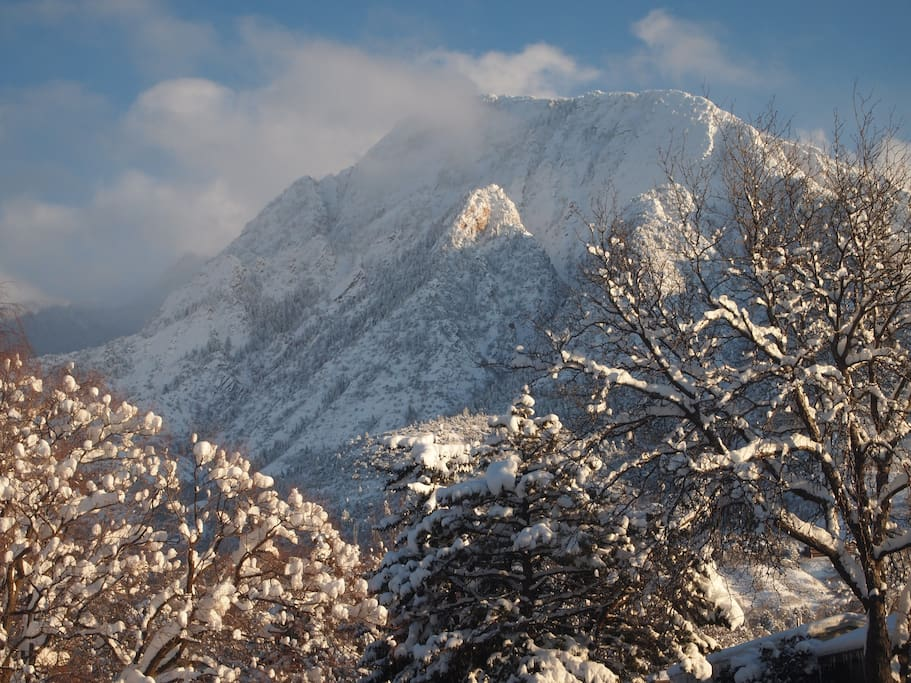 View of Mt. Olympus from front door.