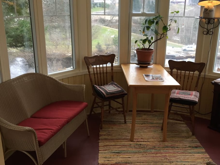 Morning views and relaxation in the round sunroom overlooking the Magnetawan River