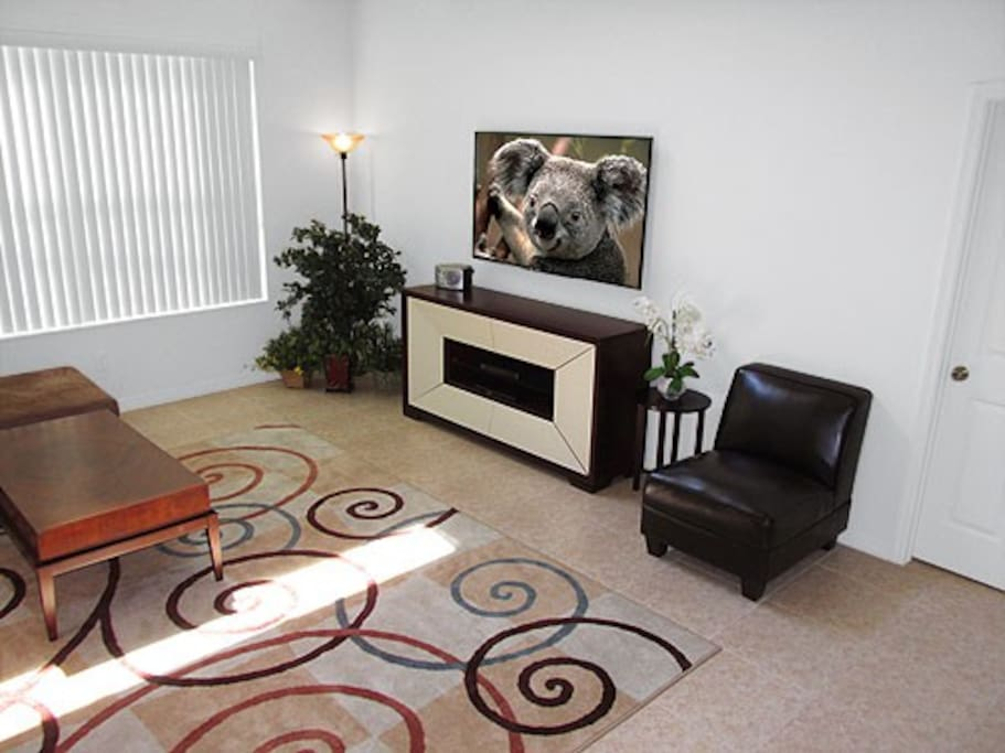Spacious family room with a wall mounted HDTV and Blu-Ray DVD player.