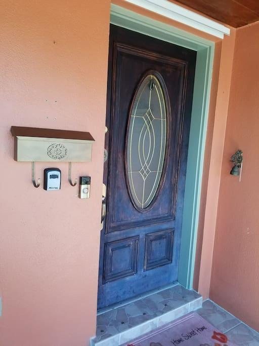 """mail box, lock box, """"RING"""" DOOR BELL AT FRONT DOOR."""