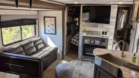 Luxury camper on beautiful private landscape