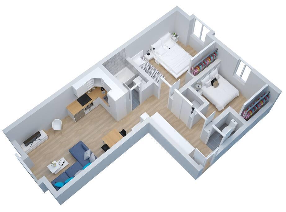 Découvrez l'appartement en 3D, avec ses 2 chambres