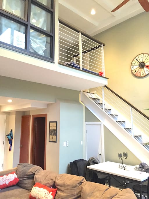 Upstairs landing area and bedroom.