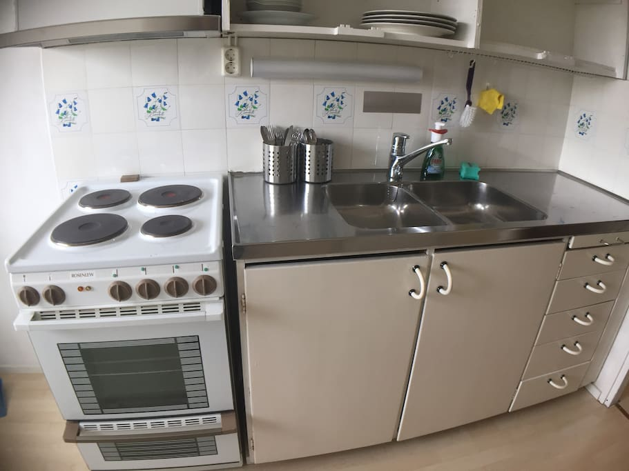 Kitchen is equipped, if you wish to self-cater. (If you really love cooking, you can request a deep-fryer, sous vide, pizza stone, and a few other kitchen gadgets.)