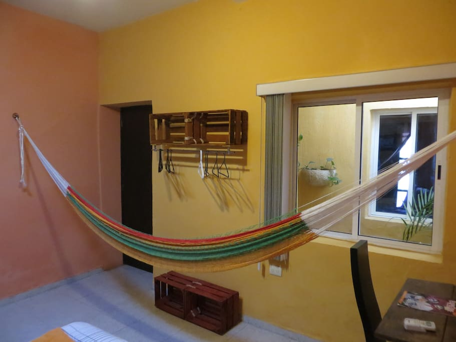 Hammock in the bedroom as well.