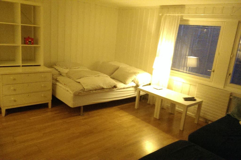 The largest of the 3 rooms, with 1 doubel bed plus 1 couch/singel bed.