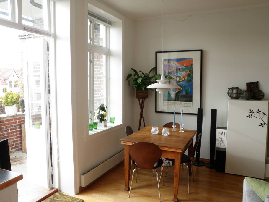 Dining area with door to balcony