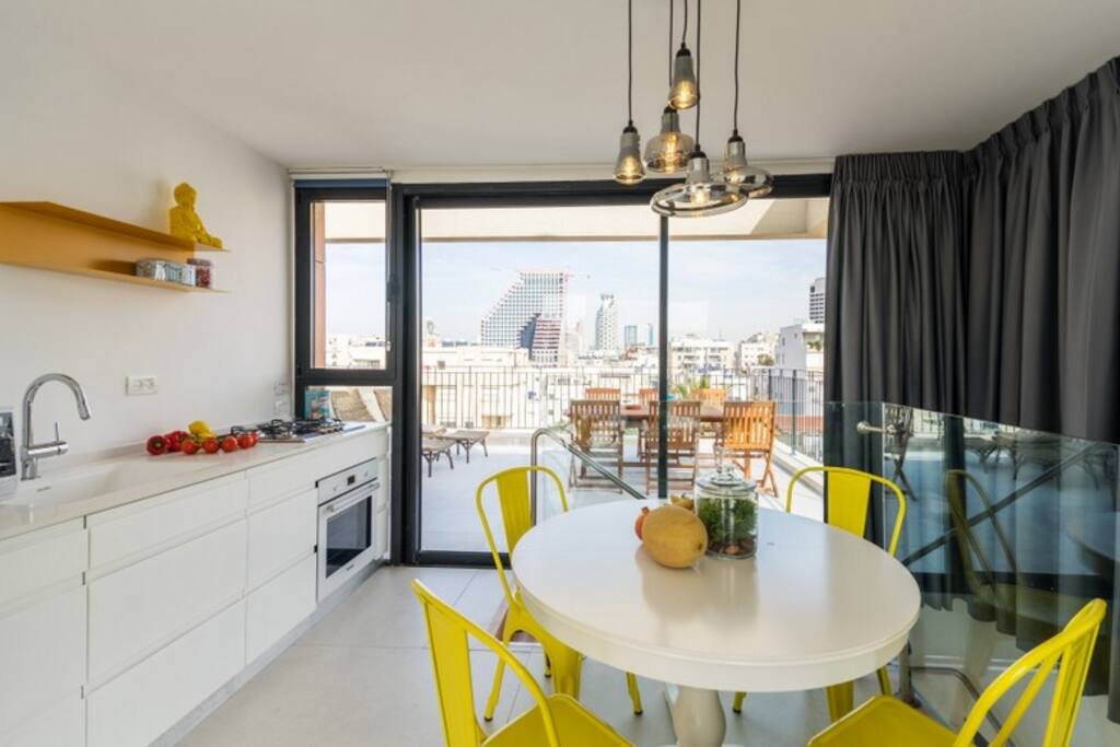 Top floor dining area and kitchen