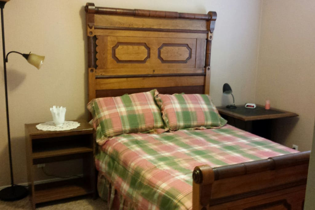 comfortable Queen bed at private end of house